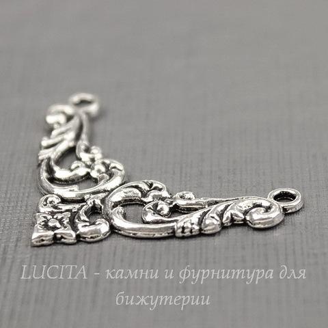 """Коннектор """"Флора"""" (1-1) 38х27 мм (цвет - античное серебро)"""