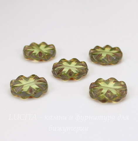"Бусина ""Резная круглая"" (цвет - оливковый) 14х14 мм , 5 штук"