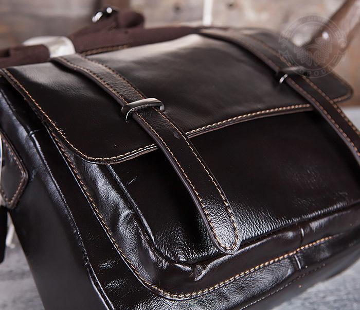 BAG433-2 Мужская сумка портфель из коричневой кожи с ремнем на плечо фото 08