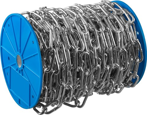 Цепь длиннозвенная, DIN 763, оцинкованная сталь, d=3мм, L=120м, ЗУБР Профессионал