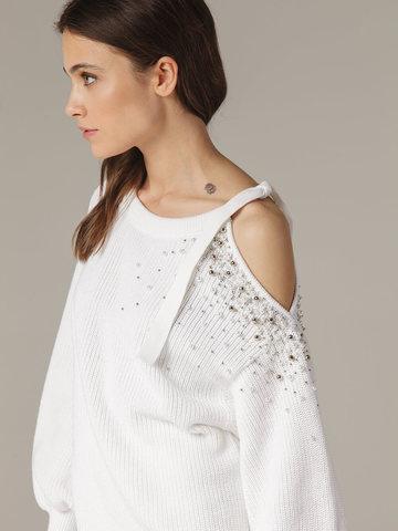 Женский белый джемпер из 100% хлопка со спущенным рукавом - фото 4