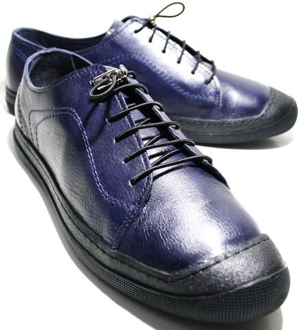 Летние мужские туфли Luciano Bellini 100407 синие, кожаные.