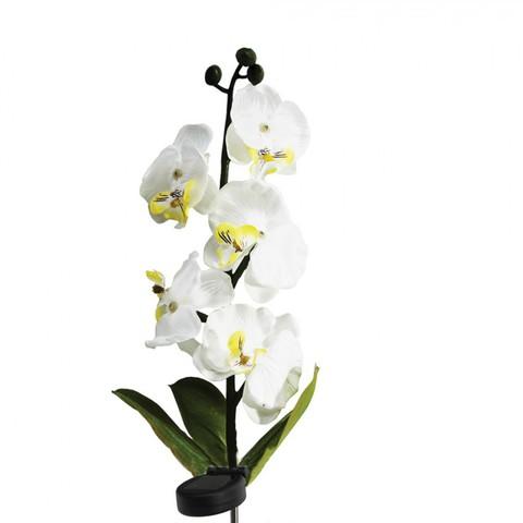 Светильник на солнечной батарее «Орхидея белая с желтым», 5 LED белый, 70см , PL301 (Feron)