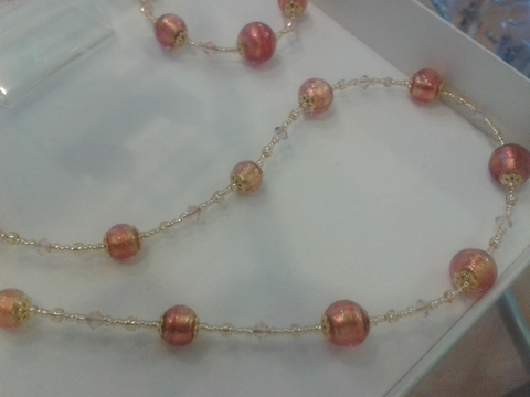 Ожерелье Примавера золотисто-розовое