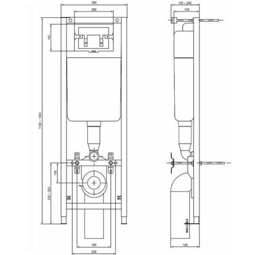 Комплект инсталляция с подвесным унитазом Ideal Standard Connect W880101