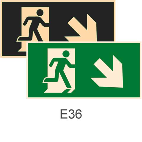 фотолюминесцентные знаки Е36 Направление к эвакуационному выходу направо вниз