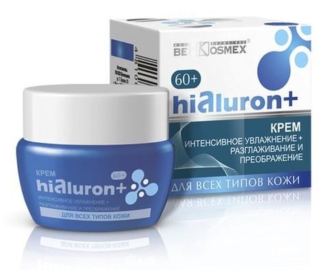 BelKosmex Hialuron+ Крем для лица интенсивное увлажнение + разглаживание и преображение кожи 60+ 48г