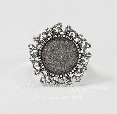 Основа для кольца с сеттингом для кабошона 14 мм (цвет - античное серебро)