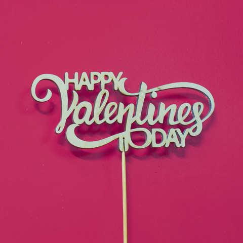 Топпер из дерева, надпись на палочке HAPPY Valentines DAY