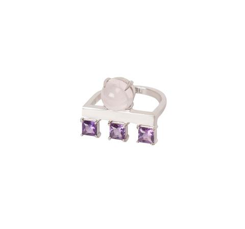 Геометричное кольцо с розовым кварцем