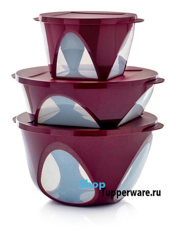 набор чаш Аркадия цвет бордо с блёстками