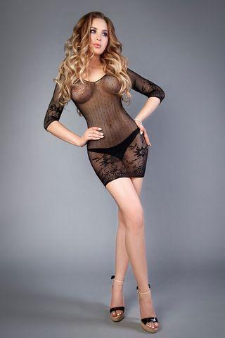 Эротическое короткое черное платье 04513 с длинным рукавом фото