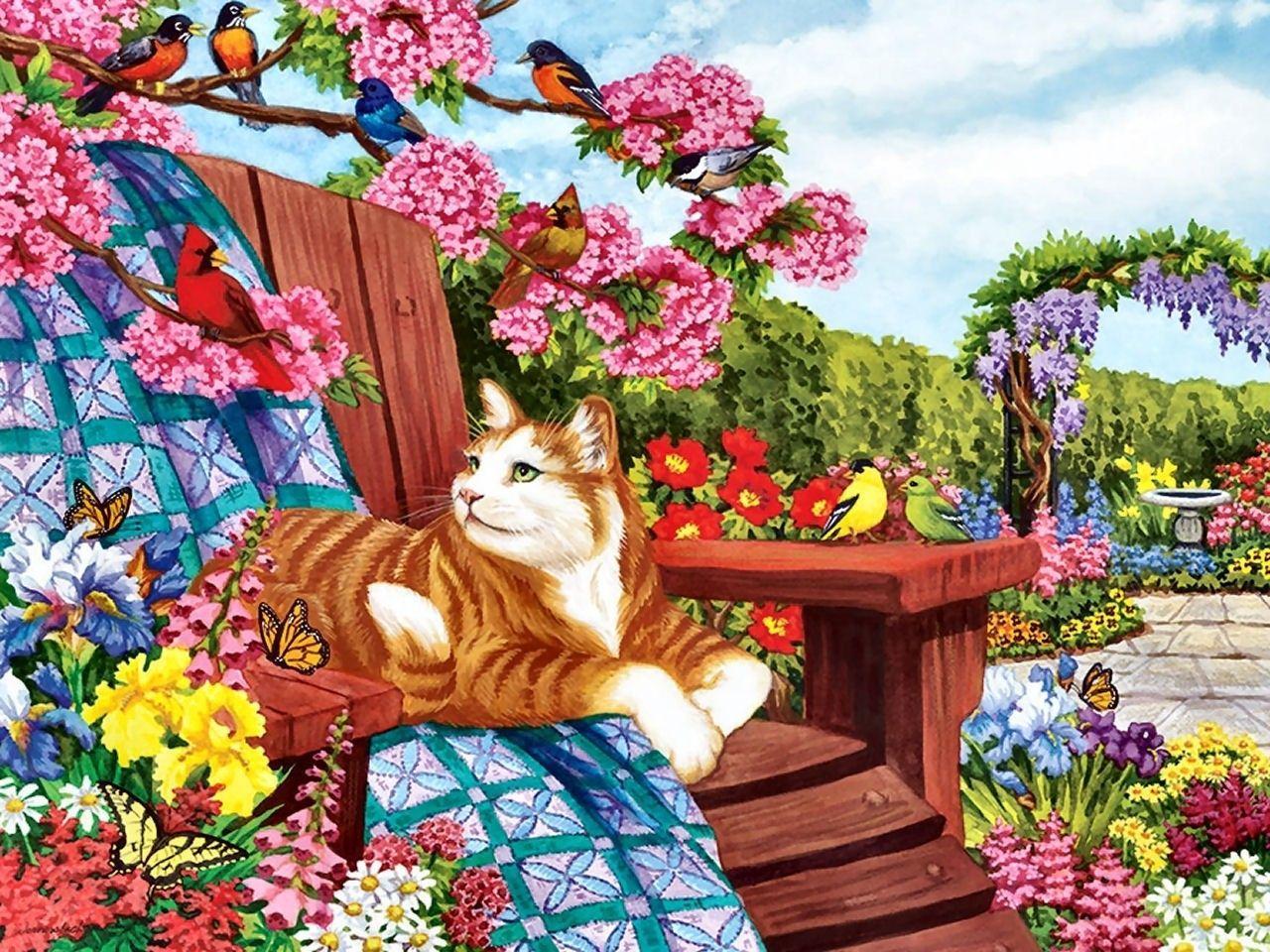 Картина раскраска по номерам 40x50 Кот греется в саду ...