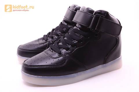 Светящиеся высокие кроссовки с USB зарядкой Fashion (Фэшн) на шнурках и липучках, цвет черный, светится вся подошва. Изображение 3 из 22.