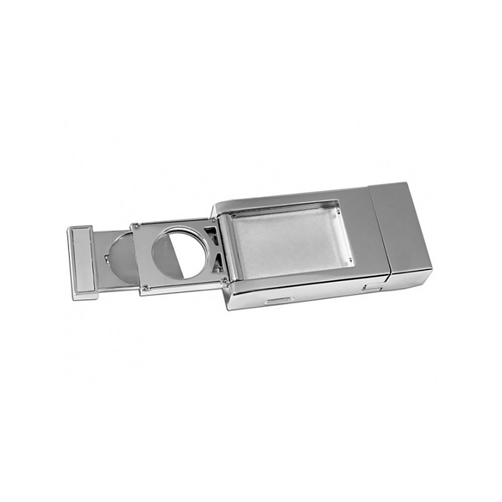 Зажигалка Pierre Cardin кремниевая газовая турбо, для сигар, цвет серебристый с насечкой, 1,6х3,5х7с