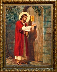 Иисус Христос стучится в дверь. Икона на холсте.