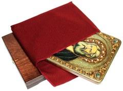 Инкрустированная икона Преподобный Серафим Саровский чудотворец 29х21см на натуральном дереве в подарочной коробке