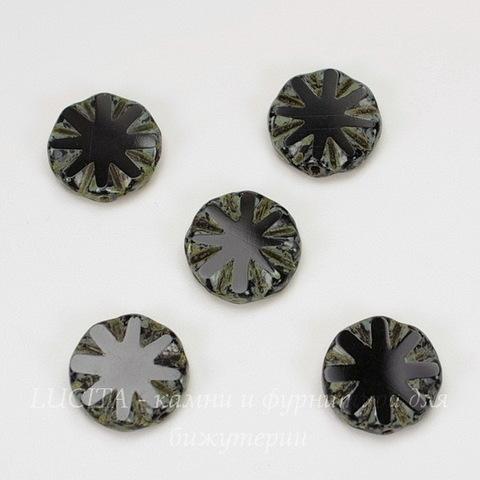 "Бусина ""Резная круглая"" (цвет - черный) 14х14 мм , 5 штук"