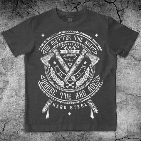 Купить хлопковую футболку Axes цвет темно серый для пауэрлифтинга, для зала, фитнеса, стиль жизни