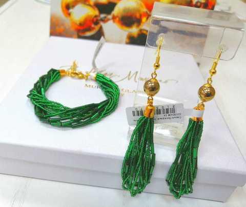 Бисерный комплект зеленый (длинные серьги и браслет)
