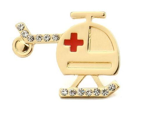 Брошь Вертолет (золотой цвет)