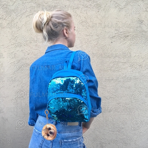 Рюкзак голубой с пайетками меняет цвет Голубой-Серебристый и брелок-ключница Пёсик