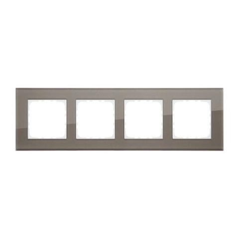 Рамка на 4 поста, натуральное стекло. Цвет Серо-коричневый. LK Studio LK80 (ЛК Студио ЛК80). 844419-1