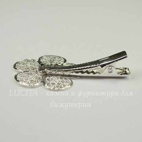 Основа для заколки с филигранным цветком, 40х26 мм  (цвет - серебро)