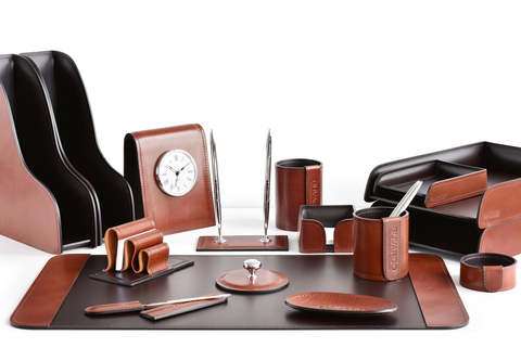 Набор руководителя на письменный стол 16 предметов из кожи FG Tan/шоколад
