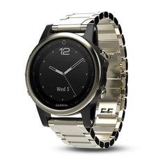 Умные женские спортивные часы Garmin Fenix 5S Sapphire - золотистые с металлическим браслетом 010-01685-15