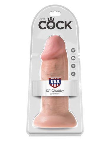 Фаллоимитатор-гигант на присоске телесный King Cock 10 Chubby Flesh фото