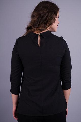 Кортні. Жіноча блуза на кожен день plus size. Чорний.