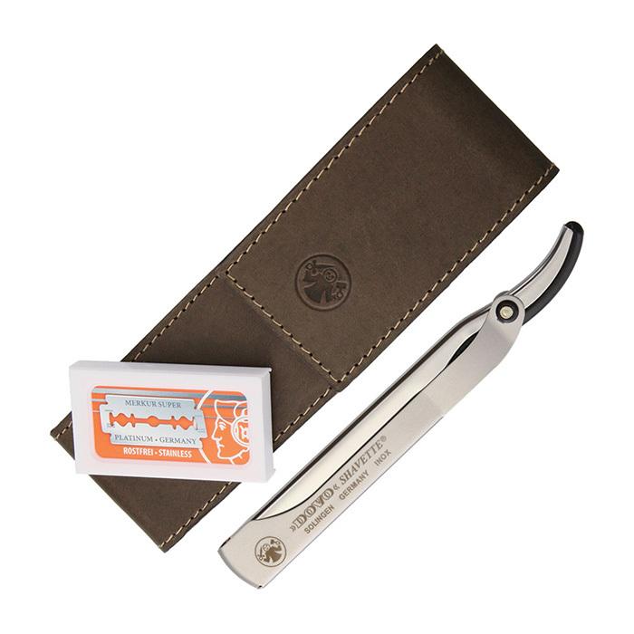 Набор бритвенный Dovo, 2 предмета, цвет коричневый, кожаный футляр