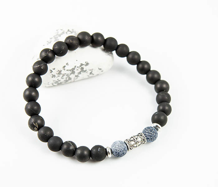 Boroda Design, Мужской браслет ручной работы из шунгита и африканского агата