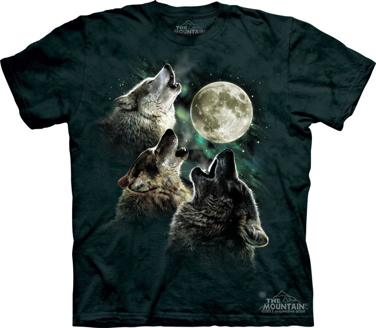 Футболка Mountain с изображением трех волков при луне - Three Wolf Moon