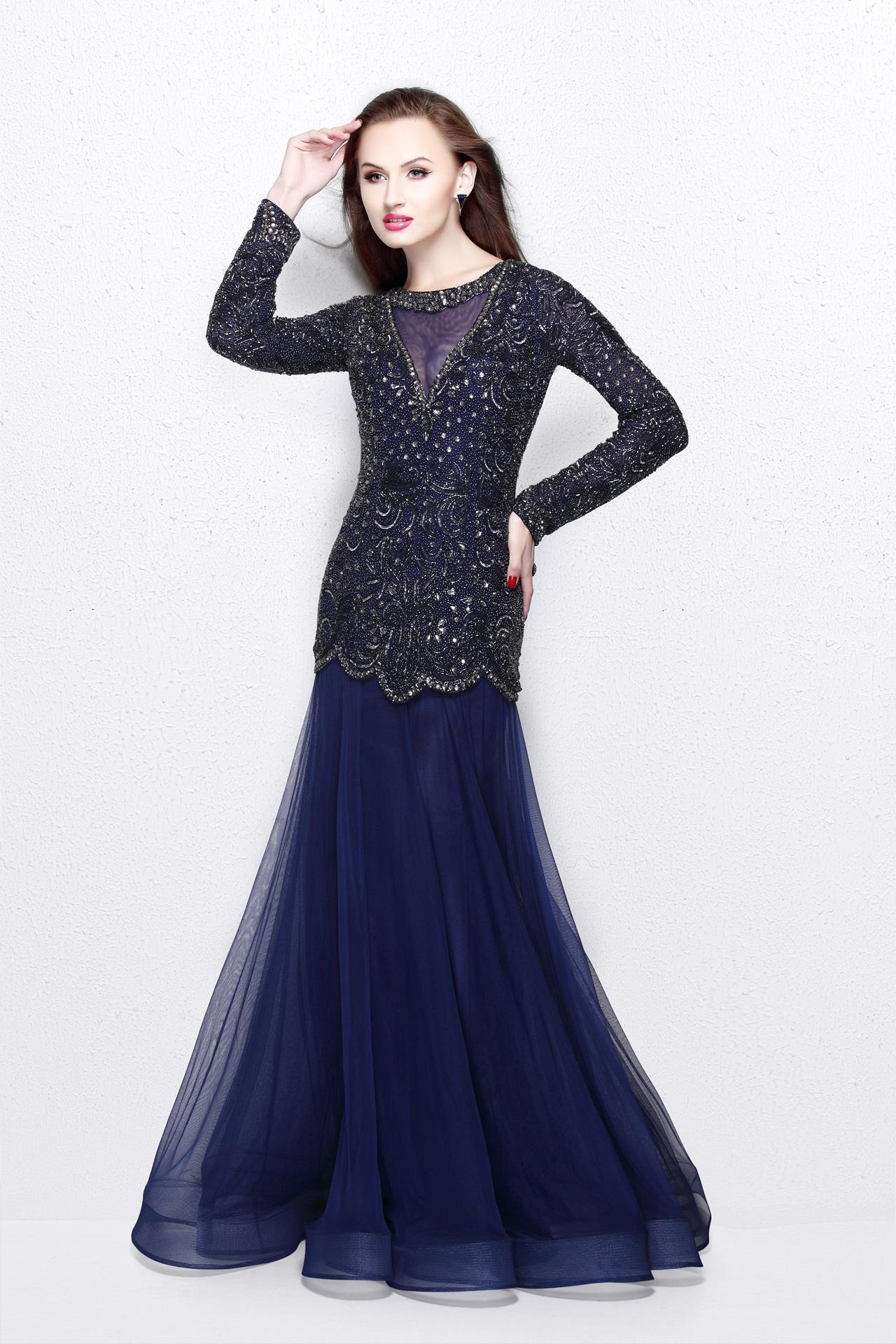 Длинное синее платье рыбка с рукавом Melisa 17521