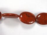 Бусина из яшмы красной, фигурная, 18x25 мм (овал, гладкая)