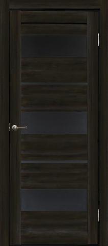 Дверь Эколайт Дорс Параллель, стекло чёрное лакобель, цвет акация чёрная, остекленная