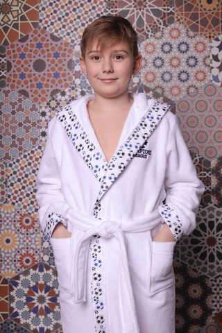 Football белый махровый халат для мальчика  с капюшоном Five Wien Турция