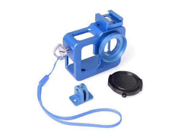 FUJIMI GP FMS-200 blue Алюминиевый чехол-рамка для GoPro, с ремешком и штативным гнездом Цвет: синий