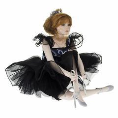 Кукла фарфоровая коллекционная Marigio Carla 39 см в черном