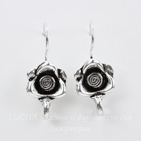 """Швензы - крючки """"Роза"""" (цвет - античное серебро)"""