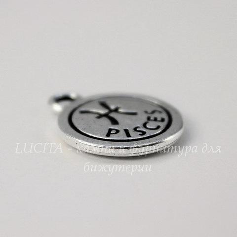 """Подвеска TierraCast знак зодиака """"Рыбы"""" (цвет-античное серебро) 19х15 мм"""