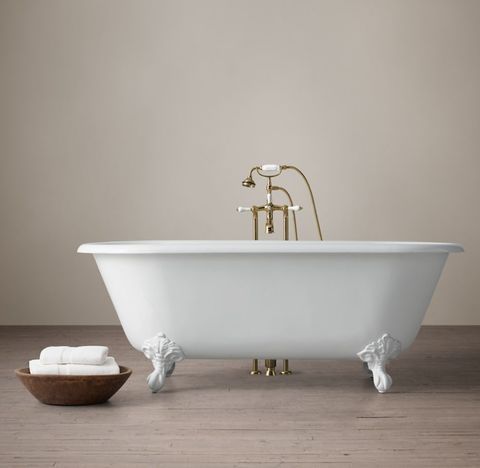 Vintage Imperial Clawfoot Tub with Lever-Handle Tub Fill - White Feet