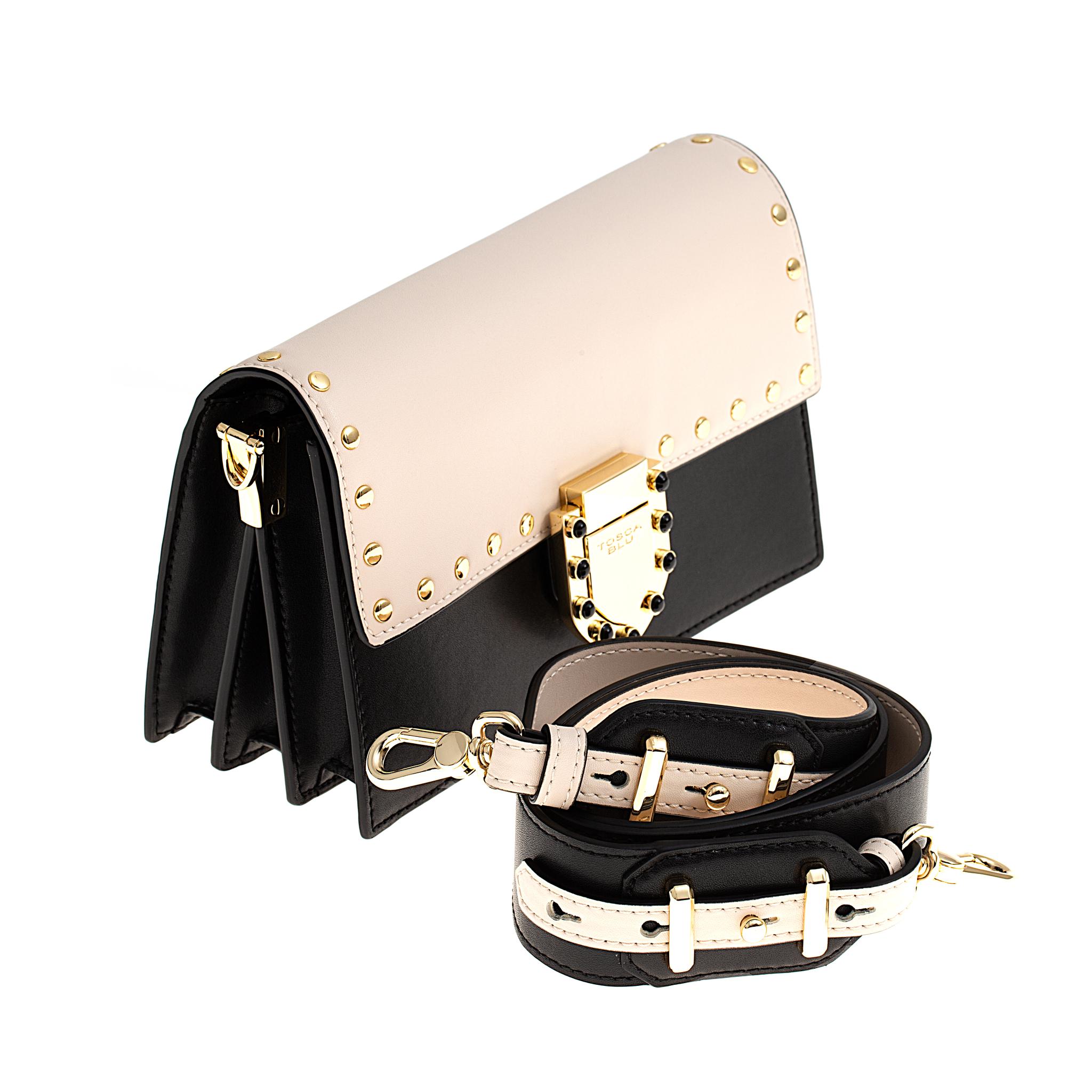 Кожаная сумка Tosca Blu Pollock Ivory, черный, Italy