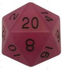 Mega Acrylic D20: Glow Purple with Black Numbers