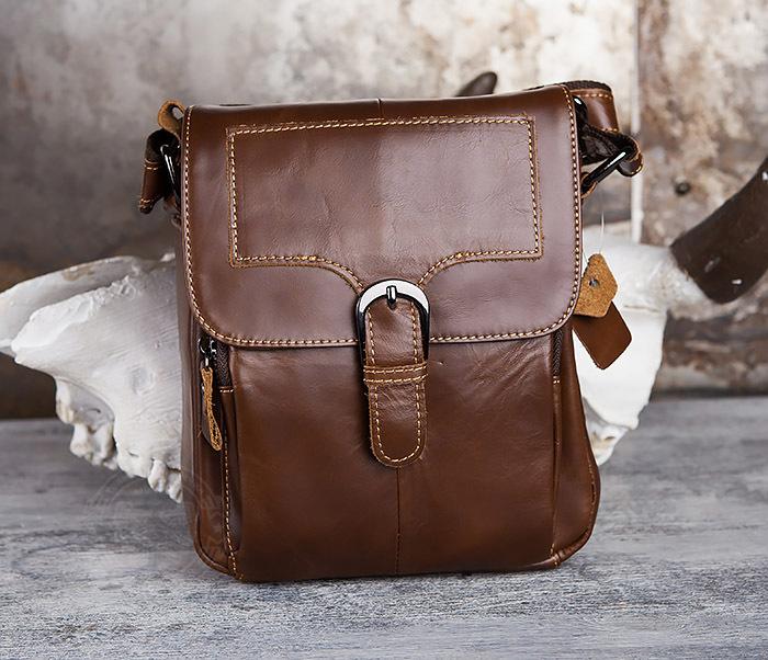 BAG434-2 Небольшая кожаная сумка с ремнем на плечо фото 02