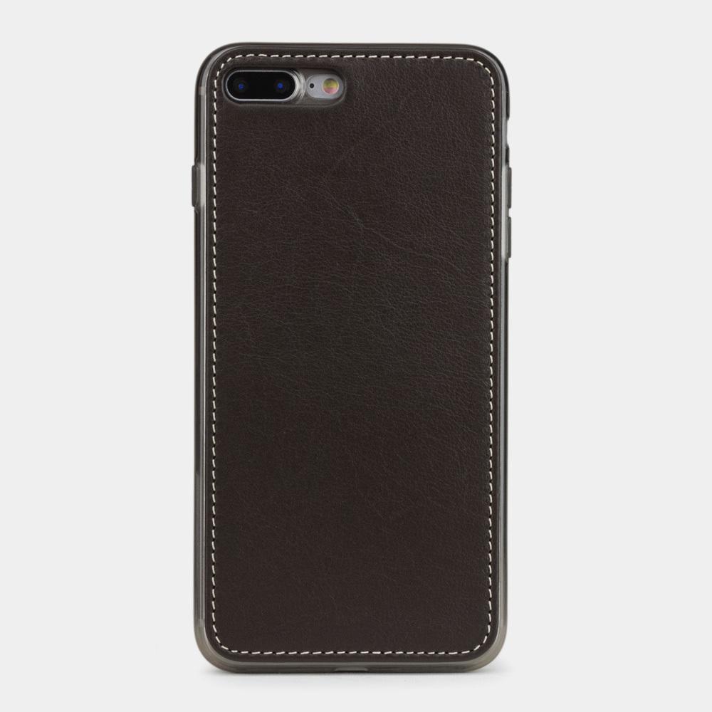 Чехол-накладка для iPhone 8 Plus из натуральной кожи теленка, темно-коричневого цвета