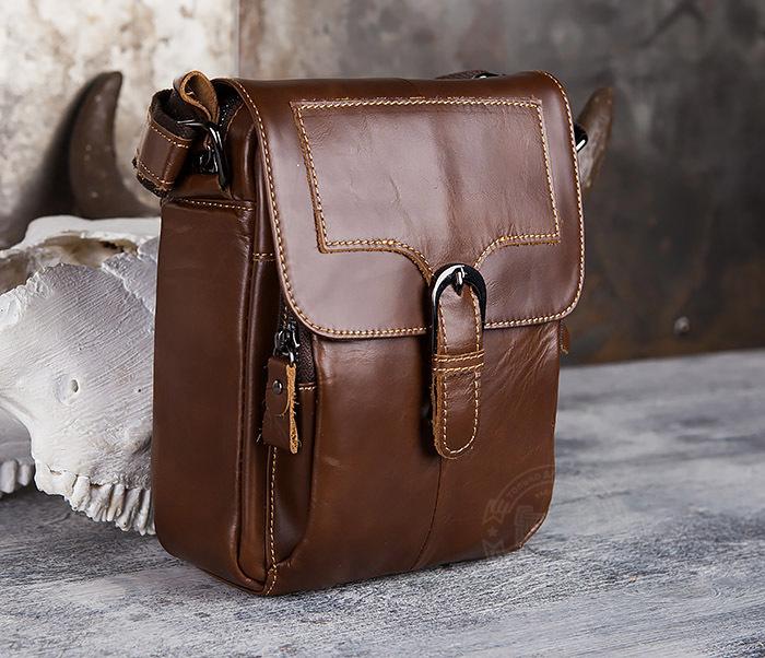 BAG434-2 Небольшая кожаная сумка с ремнем на плечо фото 03