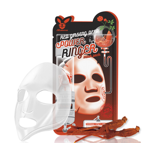 Elizavecca Тканевая маска д/лица с Красным Женьшенем RED gInseng DEEP PQWER Ringer mask pack, 23мл